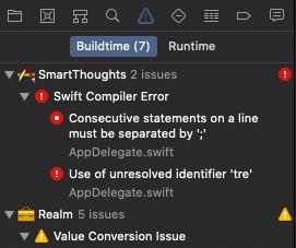 Xcode. Список предупреждений и проблем
